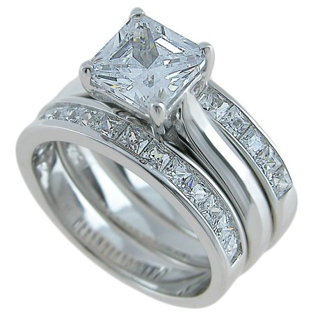 Plutus Sterling Silver 3 Piece Wedding Ring Set Sterling Silver