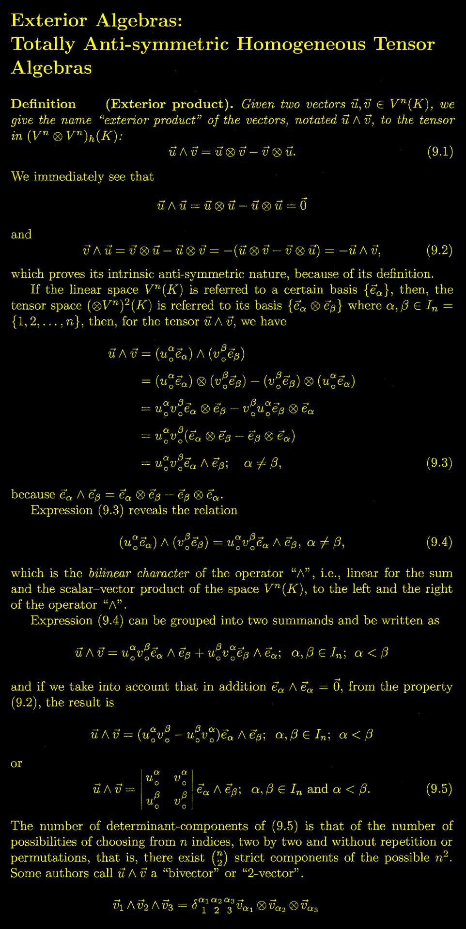 Exterior Math: Exterior Product As A Tensor