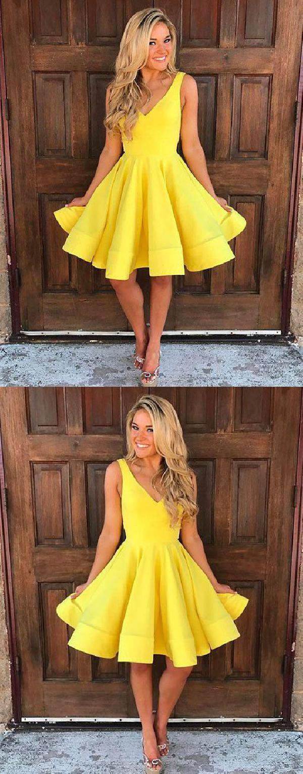 Short cute sleeveless yellow seve homecoming dresses