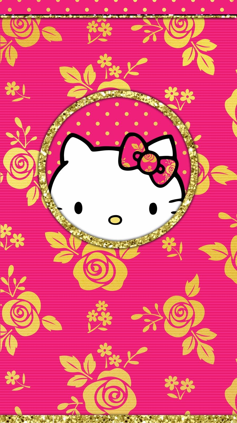 Gold Hot Pink Wallpaper Iphone Hello Kitty Backgrounds