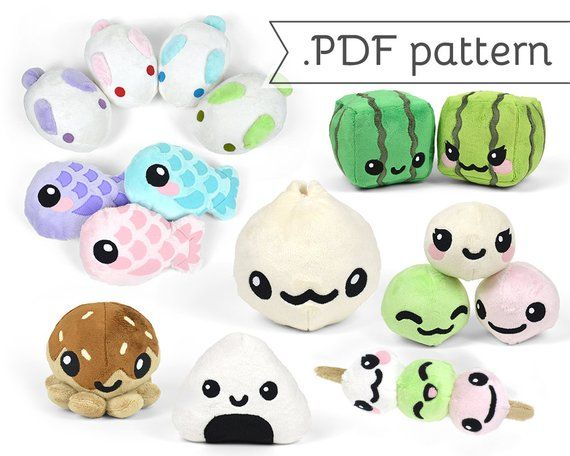 Japanese Snack Pattern Pack - Compilation of 8 .pdf Sewing Patterns ...