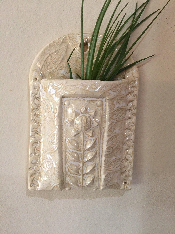 Cream ceramic wall pocket ceramic wall vase air plant