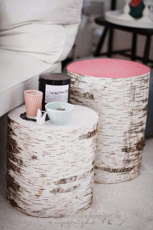 Diy tables from fr ulein klein art crafts sewing diy diy table home decor und tree stump - Geheimversteck mobel ...