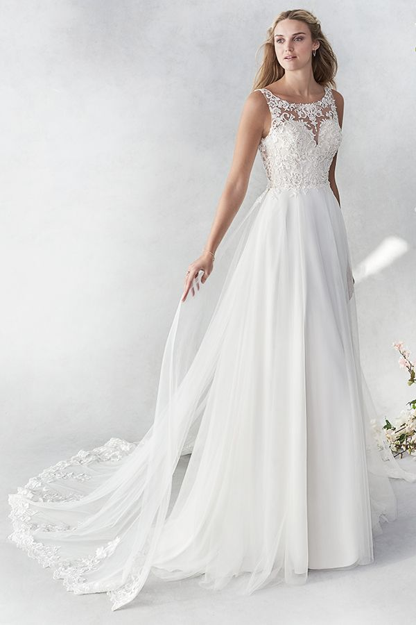 Ella Rosa Style Be455 Beautiful Lace Aline Gown Plain Tulle