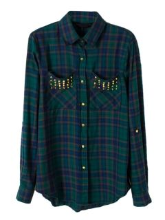 Green Plaid Shirt with Studded Pockets