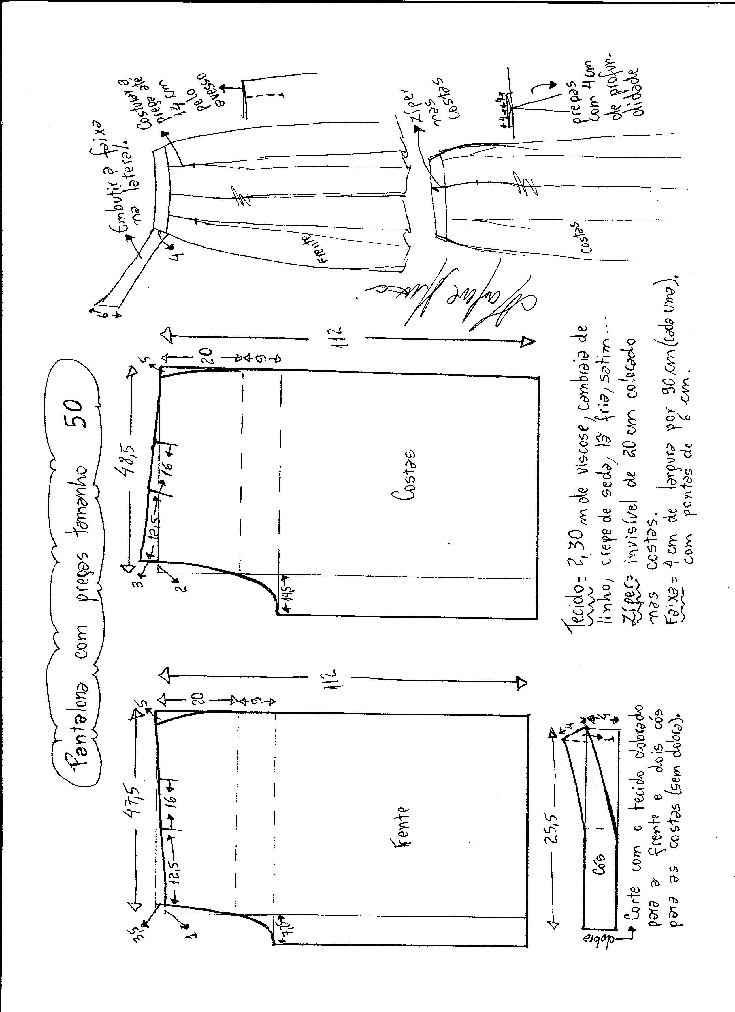 Patrón Pantalones con pliegues | Confección de indumentaria ...