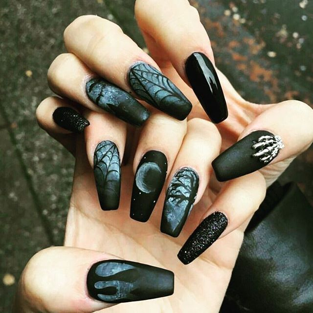 Check out this #wicca inspired #nailpolish | Goth nails ...