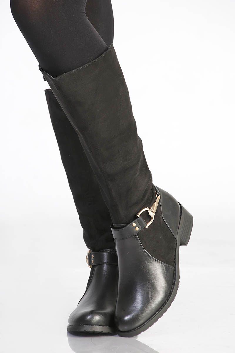 bottes plates noires en daim pas cher et sexy | mode ; bijoux