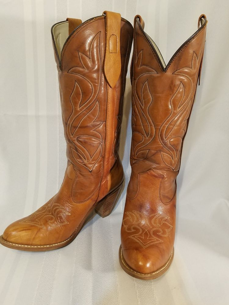 701e7049b962b VINTAGE CAPEZIO TALL WOMENS MARBLED TAN LEATHER COWBOY BOOTS SIZE 8   fashion  clothing