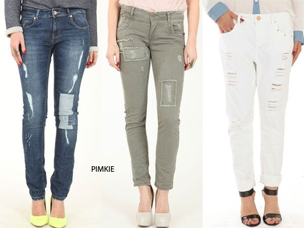 Photo of PIMKIE. Torn pants with patches.