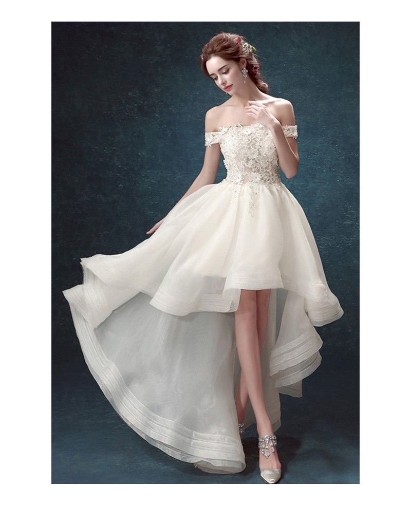 Suosikki 2017 High Low Short Front Long Back Beach Wedding: Chic High Low Off-the-shoulder Tulle Wedding Dress With