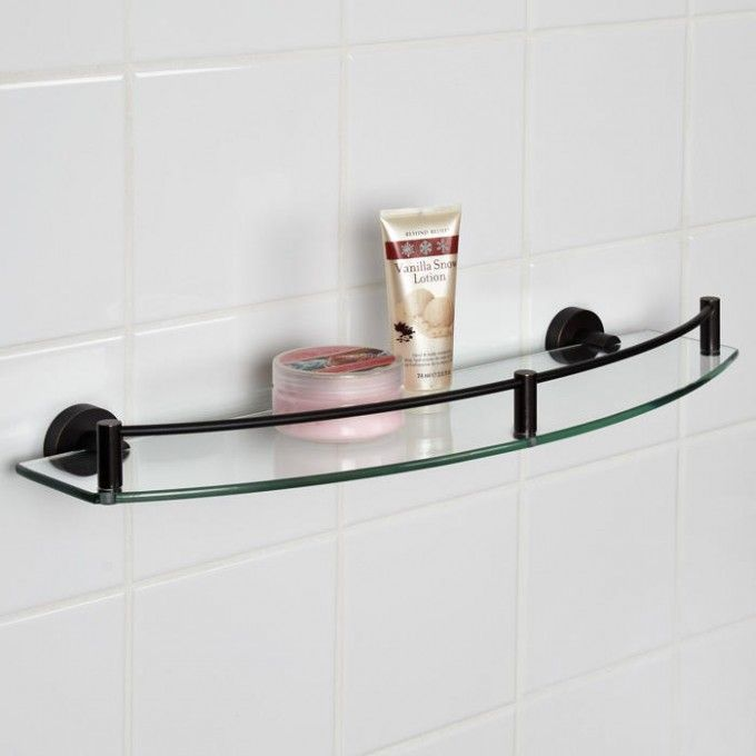 Bristow Curved Tempered Glass Shelf Glass shelves, Shelving and