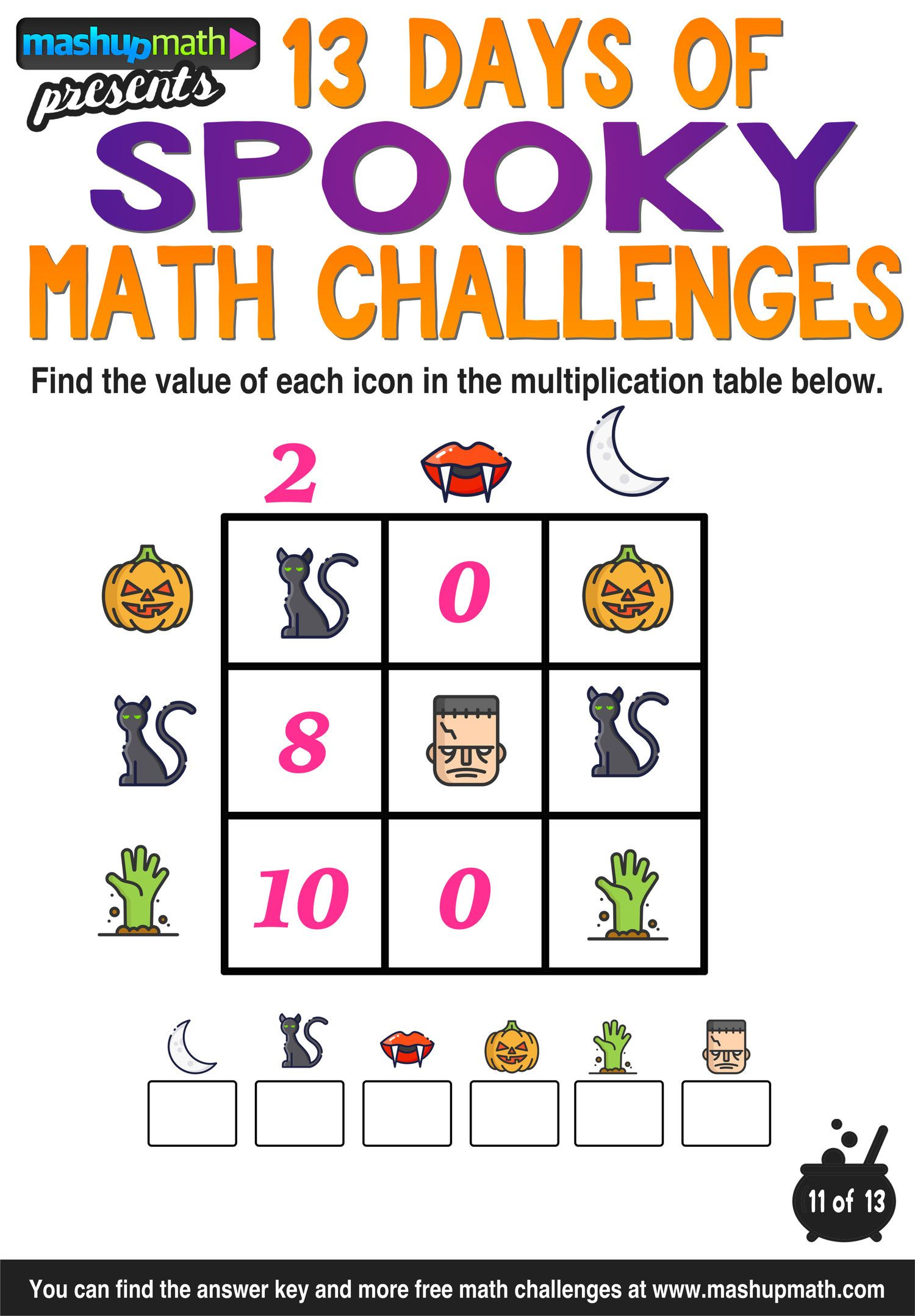 Halloween Math 13 Days Of Spooky Math Challenges For Grades 1 8 Mashup Math Math Challenge Halloween Math Activities Halloween Math