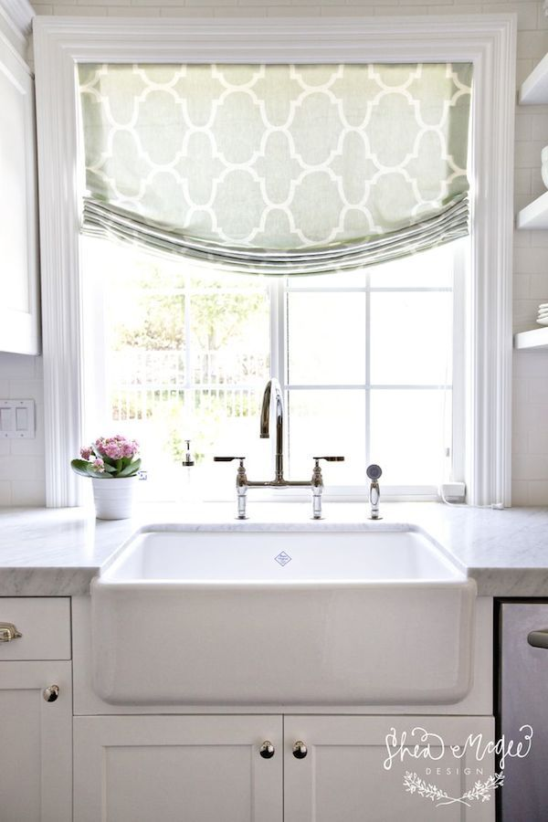 Inspired By Fabric Roman Shades White Farmhouse Sink Home