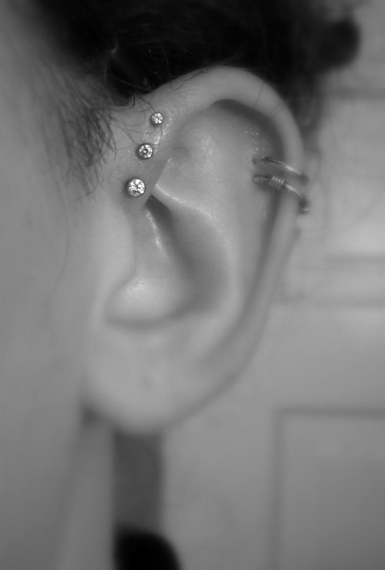 Nose piercing without earring  Triple forward helix piercing  for the Trinity eventually