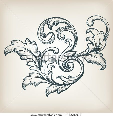 vintage Baroque scroll design frame engraving acanthus floral border - baroque scroll designs