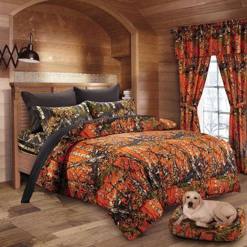 Orange Black Camo Comforter Set, Orange Camo Queen Bedding