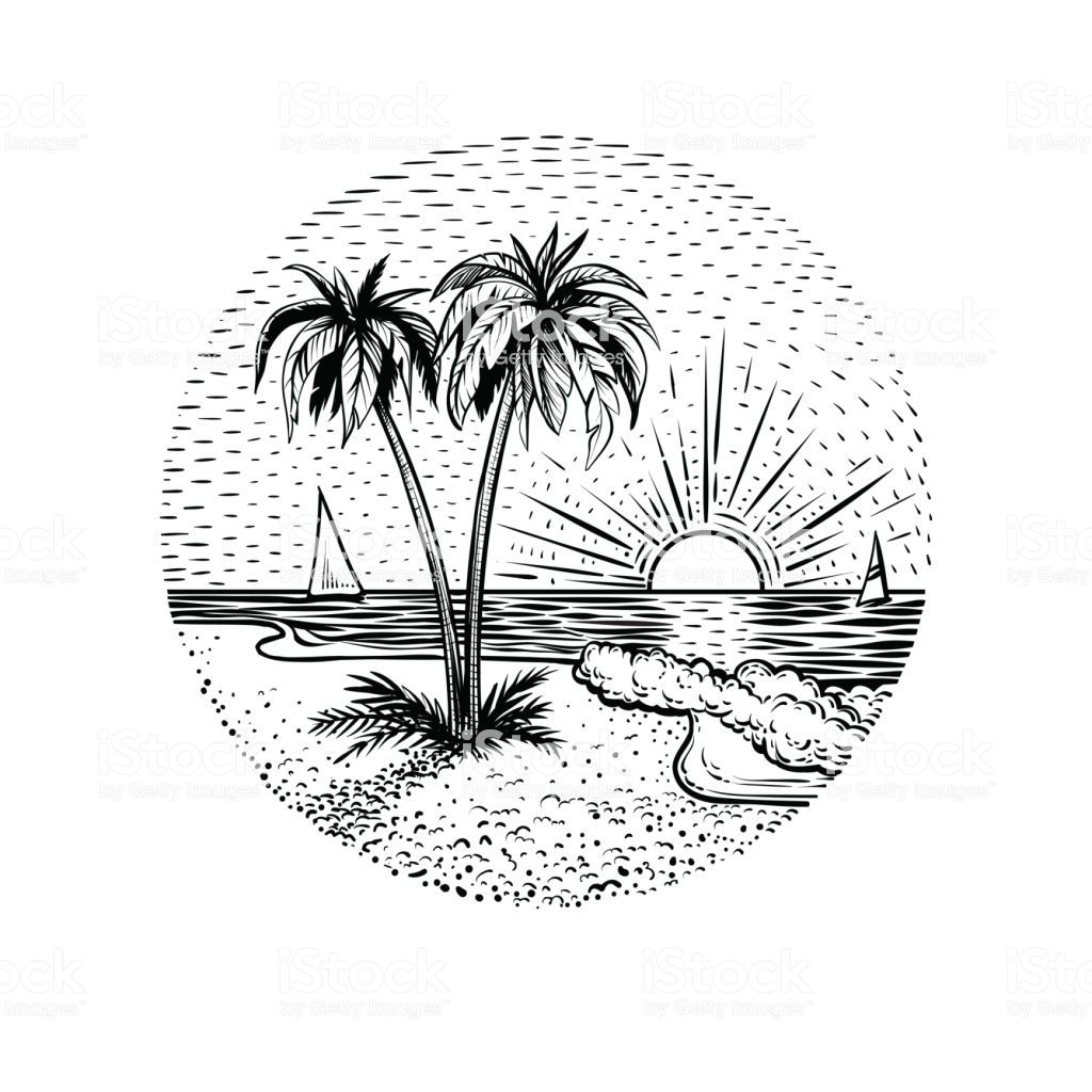 Line Beach Landscape With Palms And Sunset Black Graphic