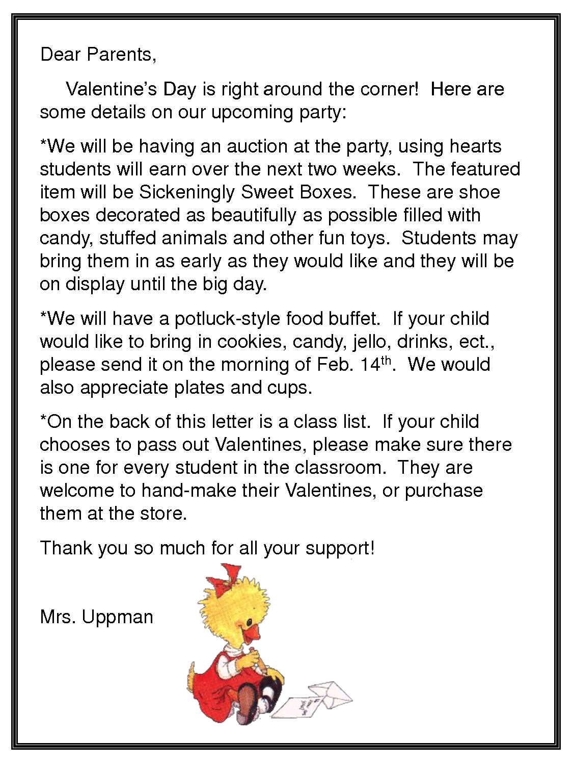 Holiday Party Letter to Parents  February Valentine 27s Day Party