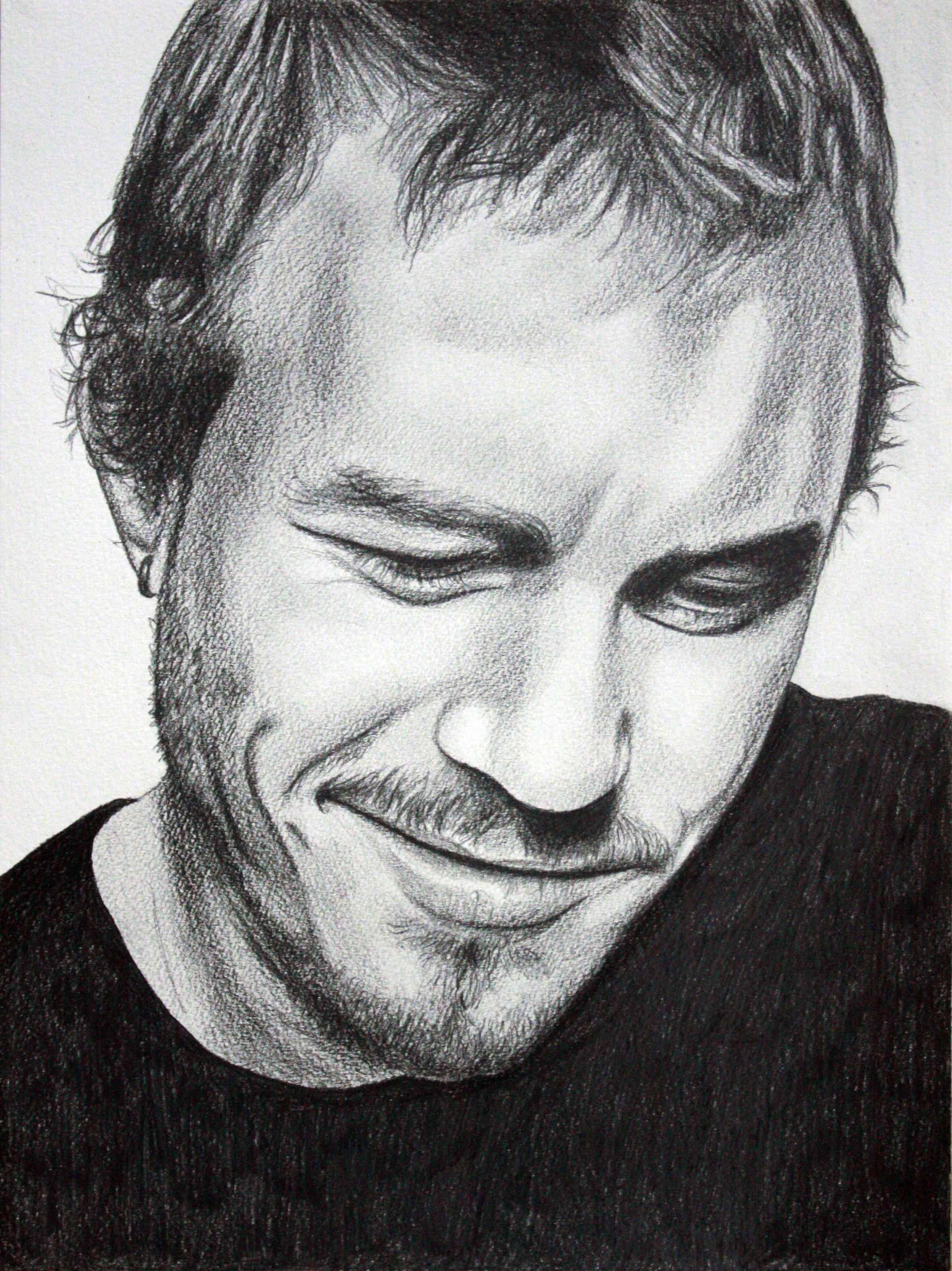 Heath ledger 24cm x 32cm graphite pencil sketch for sale 120 framed janmac creative
