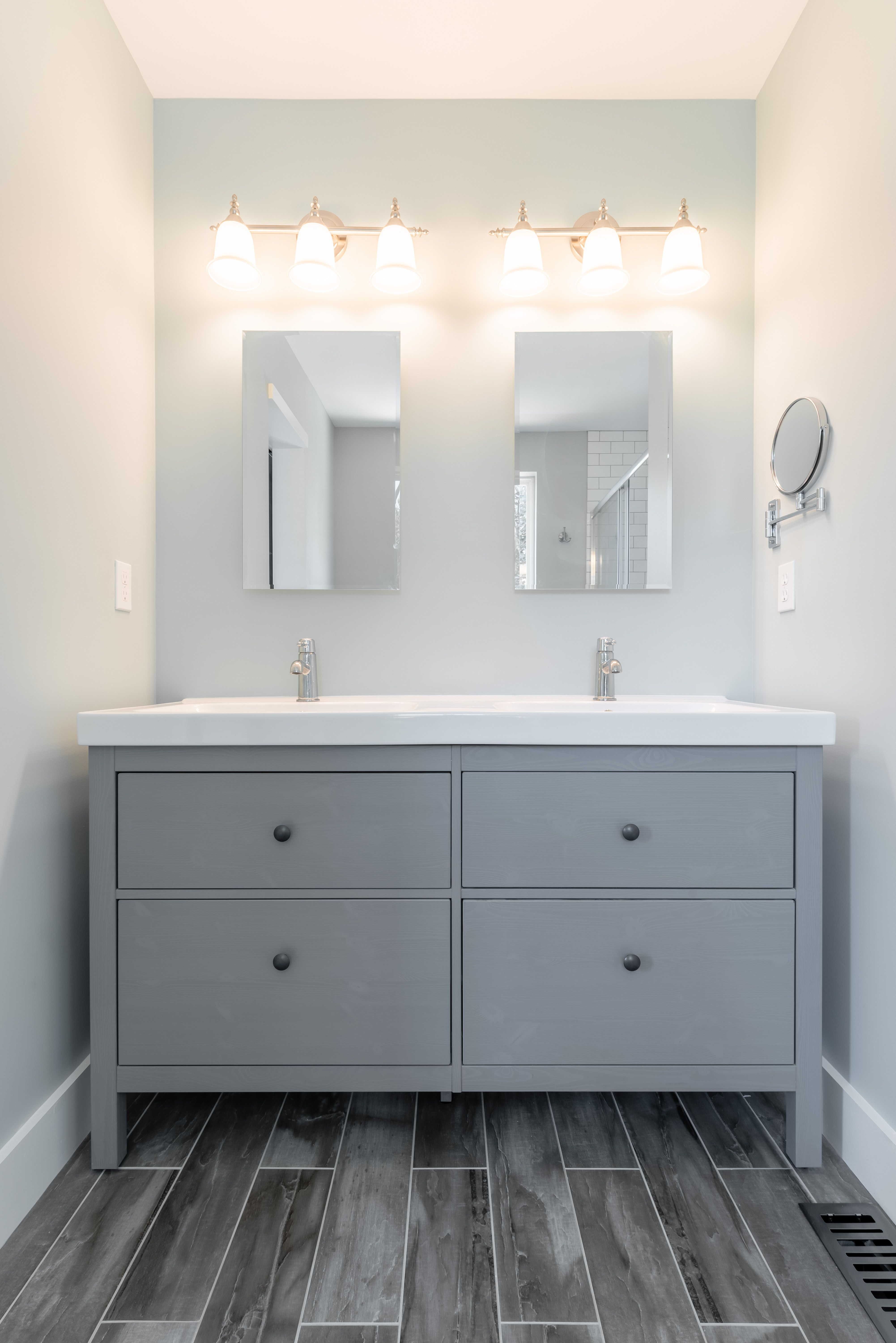 IKEA gray Hemnes Odensvik Vanity with Granskar faucet