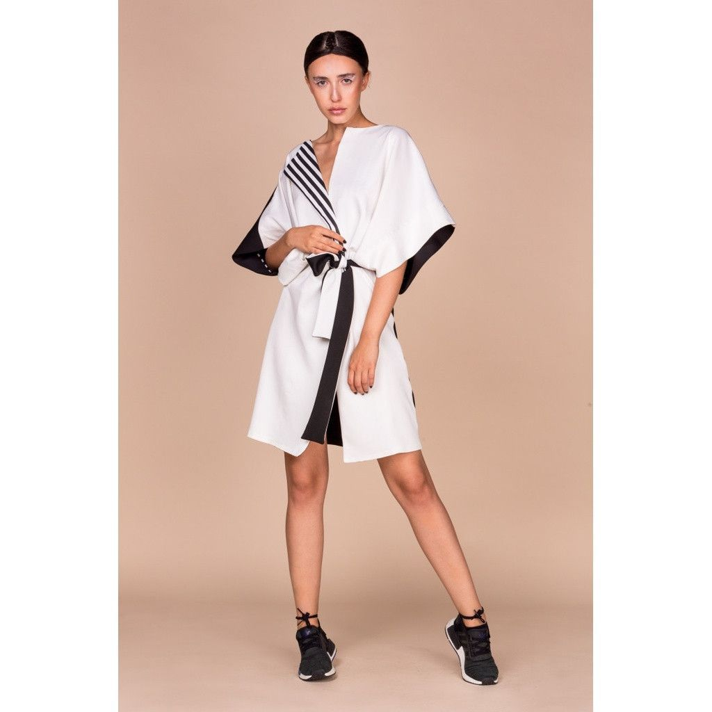 Alkaline black and white kimono vest with swarovski crystals details