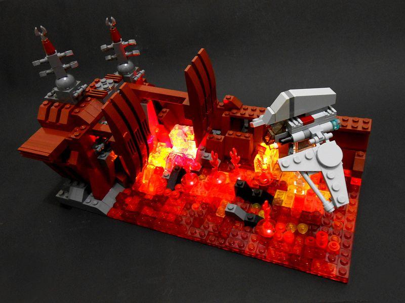 Star Wars Episode Iii Aftermath On Mustafar Mini Size Tabletop Diorama Lego Star Wars Mini Star Wars Episodes Lego Star Wars