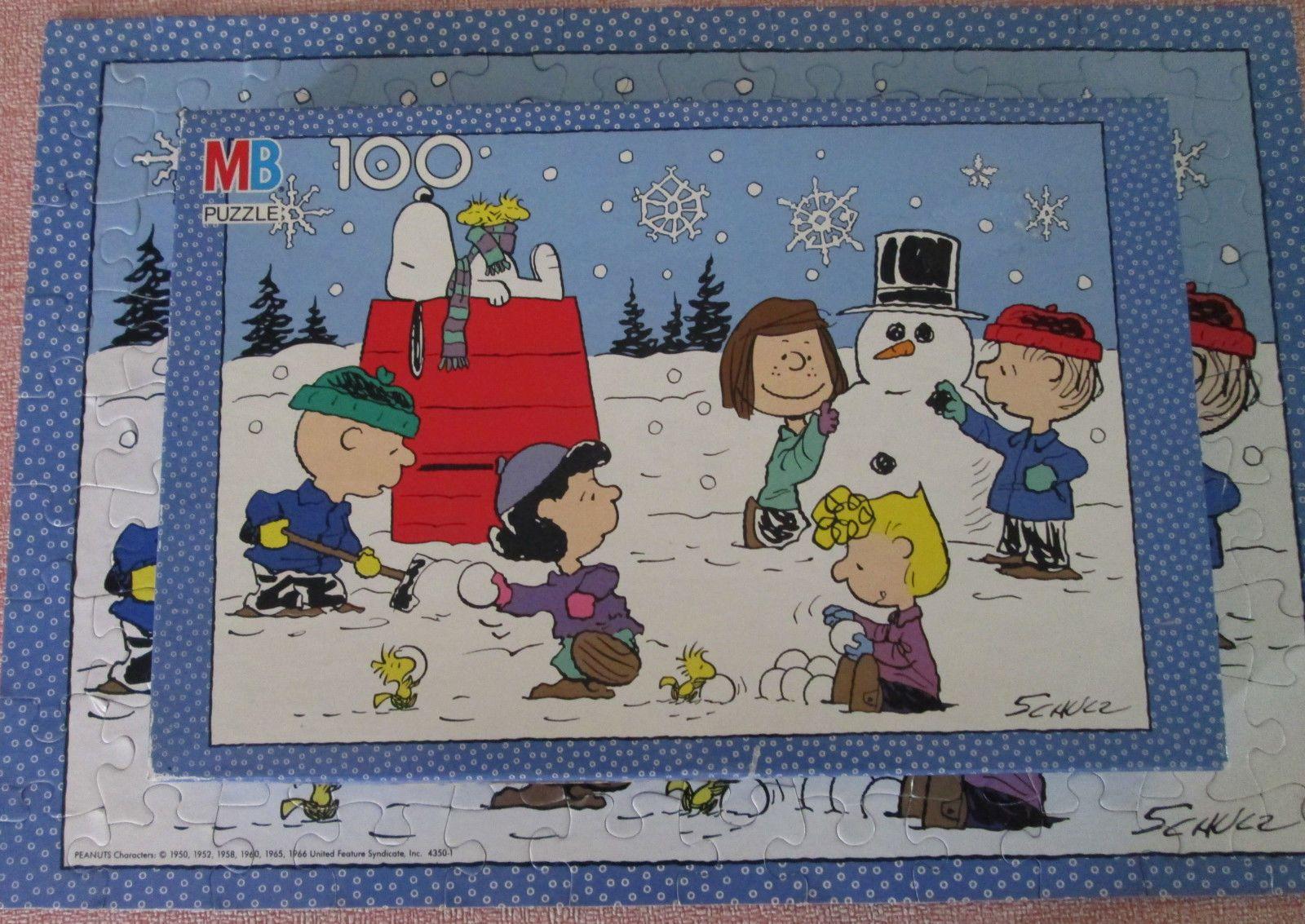 Complete w Box Vintage Peanuts Gang Schultz 100 Piece Puzzle Winter Snow Scene | eBay