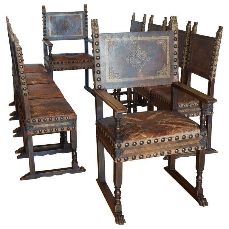 Set of Ten 10 Italian Renaissance Revival Chairs in Original
