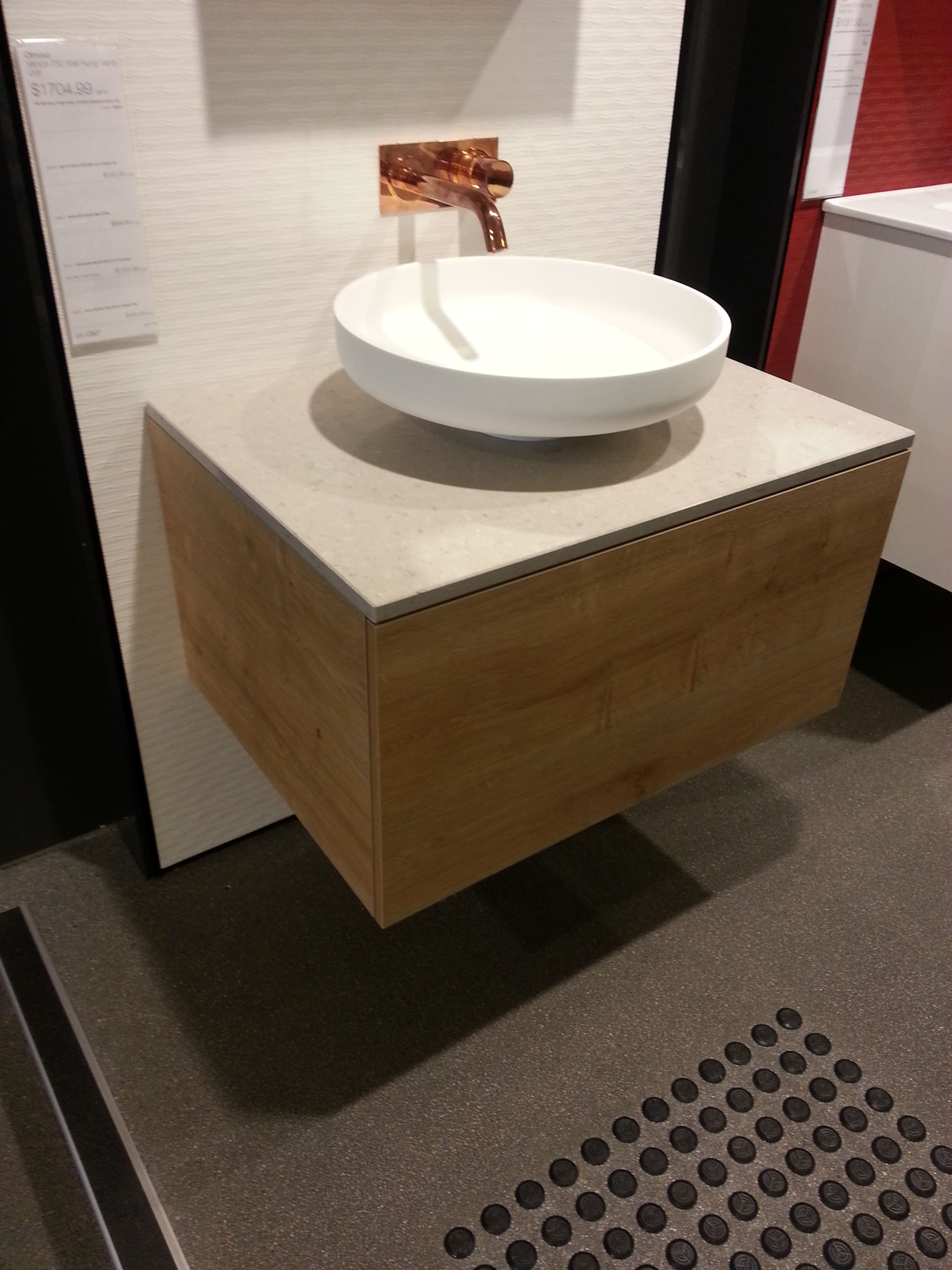 The Omvivo Venice 450 basin with 750 vanity in Arlington Oak ...