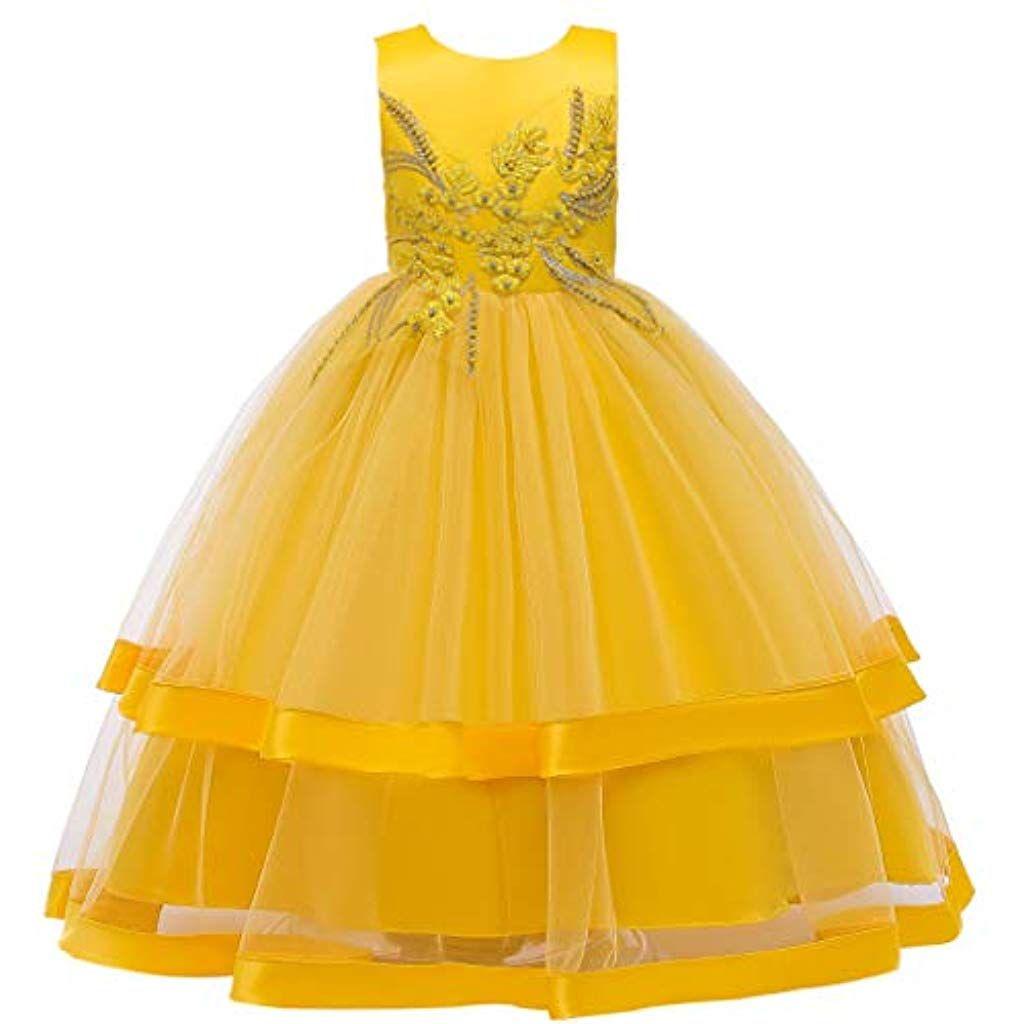 Longra Mädchen ärmellos Prinzessin Kleid Party Hochzeit Dress Mesh
