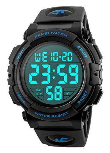 Men 's Large Face Digital Outdoor Sports Waterproof Watch LED Luminous Alarm Stopwatch Simple Army (Blue) #sportswatches Men 's Large Face Digital Outdoor Sports Waterproof Watch LED Luminous Alarm Stopwatch Simple Army (Blue) #sportswatches