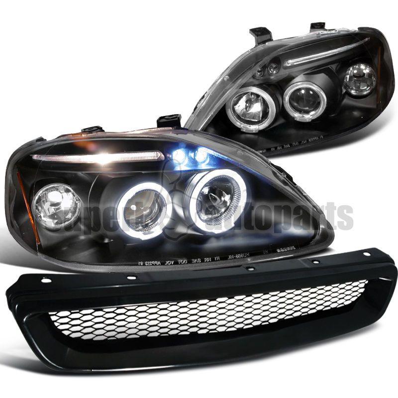 For 1999 2000 Civic Led Halos Projector Headlight Abs Mesh Hood Grille Black Honda Civic Honda Civic Ex Projector Headlights