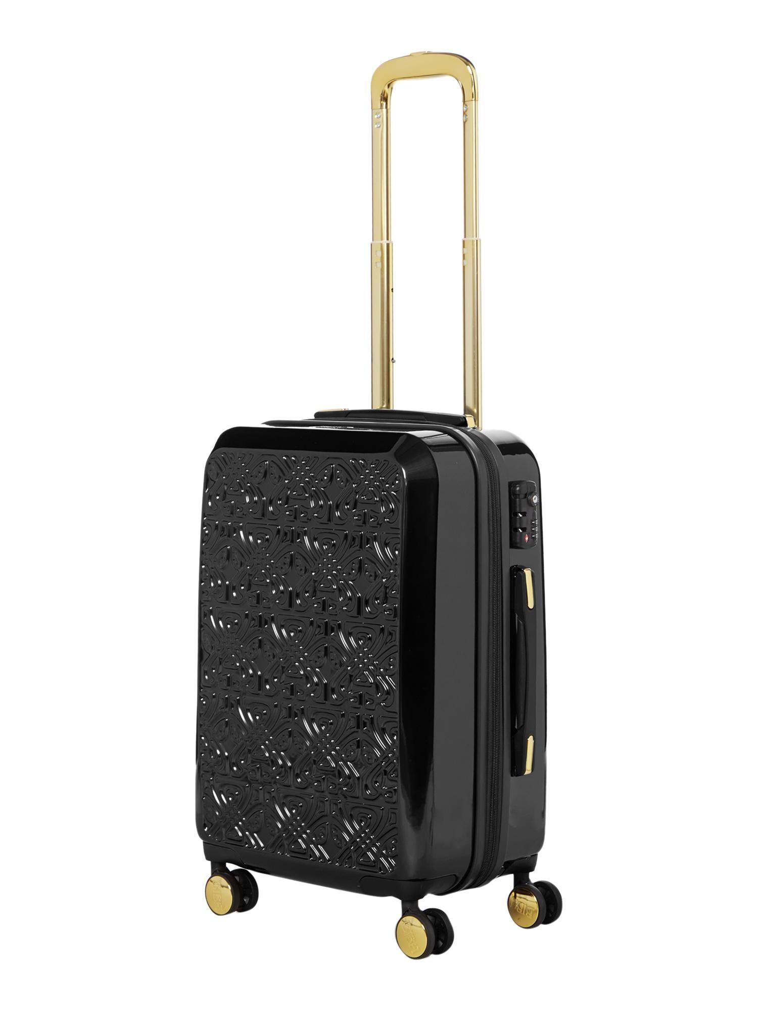 Biba Logo Emboss Black 8 Wheel Cabin Suitcase - House of Fraser ... 384c0981dc
