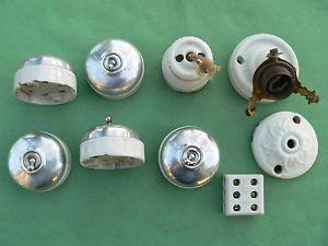 Pièces interrupteurs applique prise fiche porcelaine ancien