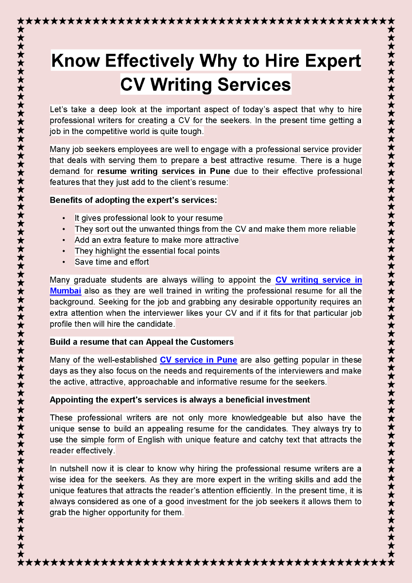 Know Effectively Why to Hire Expert CV Writing Services