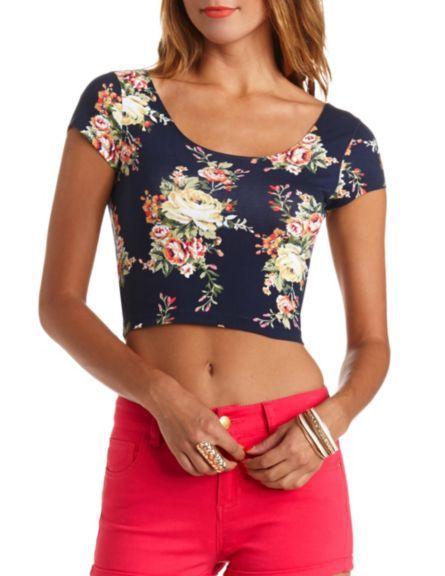 954152824855b4 Short Sleeve Floral Print Crop Top  Charlotte Russe