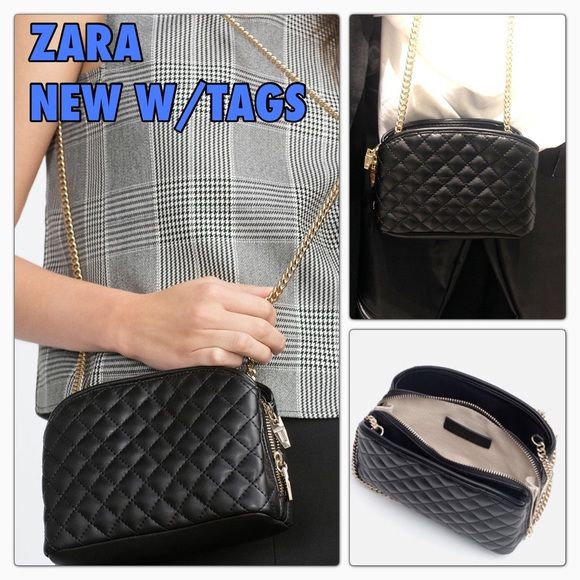 Zara New With Tags Quilted Black Crossbody Bag Black Cross Body Bag Quilted Crossbody Bag Zara New