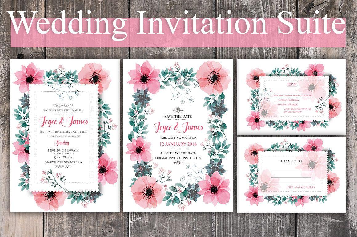 Printable Wedding Invitation Suite - Pink Floral Wedding Invitation ...