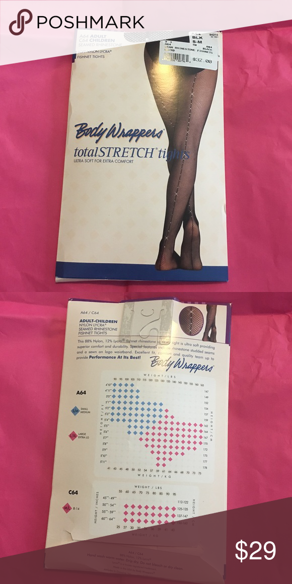 f771a081b5a73 ... never opened fishnet tights with rhinestones up the back. Very good  quality fishnets for dancers. Size S/M, size chart is pictured. Body  Wrappers Other