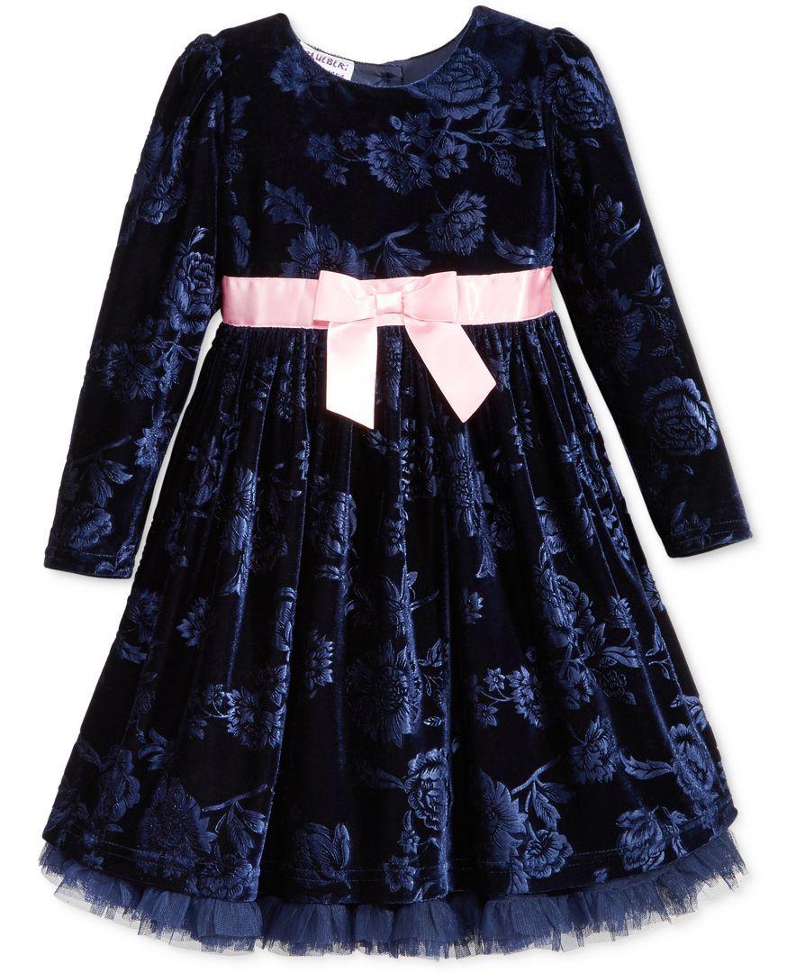 00e6e679d1088 Blueberi Boulevard Floral-Print Velvet Special Occasion Dress, Toddler  Girls (2T-5T) & Little Girls (2-6X)