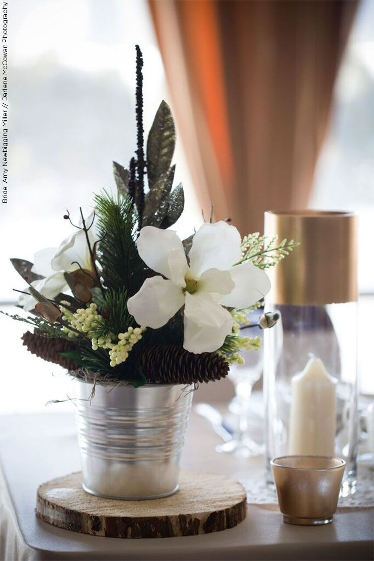 Create An Everlasting Winter Wedding Centerpiece With Faux Flowers