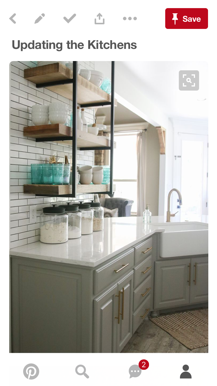 Best Ellie Gray Cabinets Alabaster Walls And Open Shelving 400 x 300