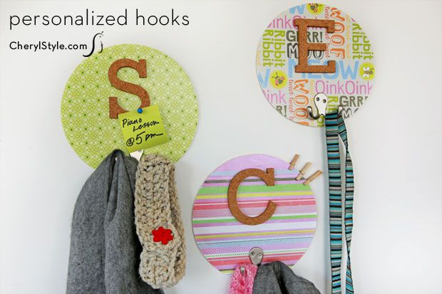 #DIY coat hooks for personalized #organizing | CherylStyle.com
