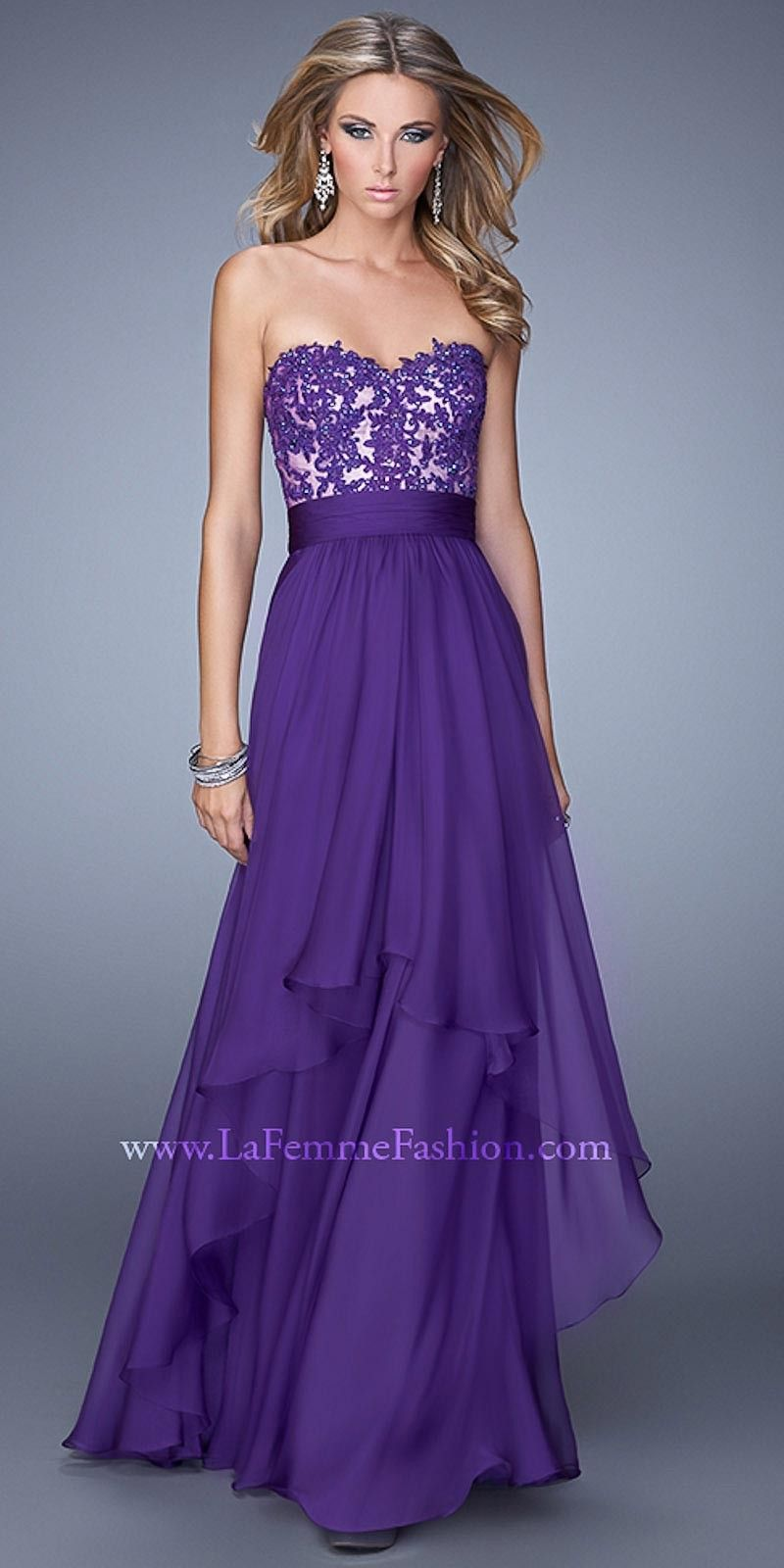 Dark purple tiered prom dress by La Femme | Available at edressme ...