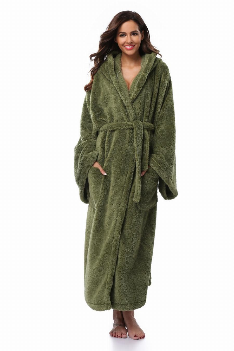c1d70cb8a6 Winter Thick Warm Women Robes 2017 Coral Fleece Sleepwear Long Robe Woman  Hotel Spa Plush Long Hooded Bathrobe Nightgown Kimono