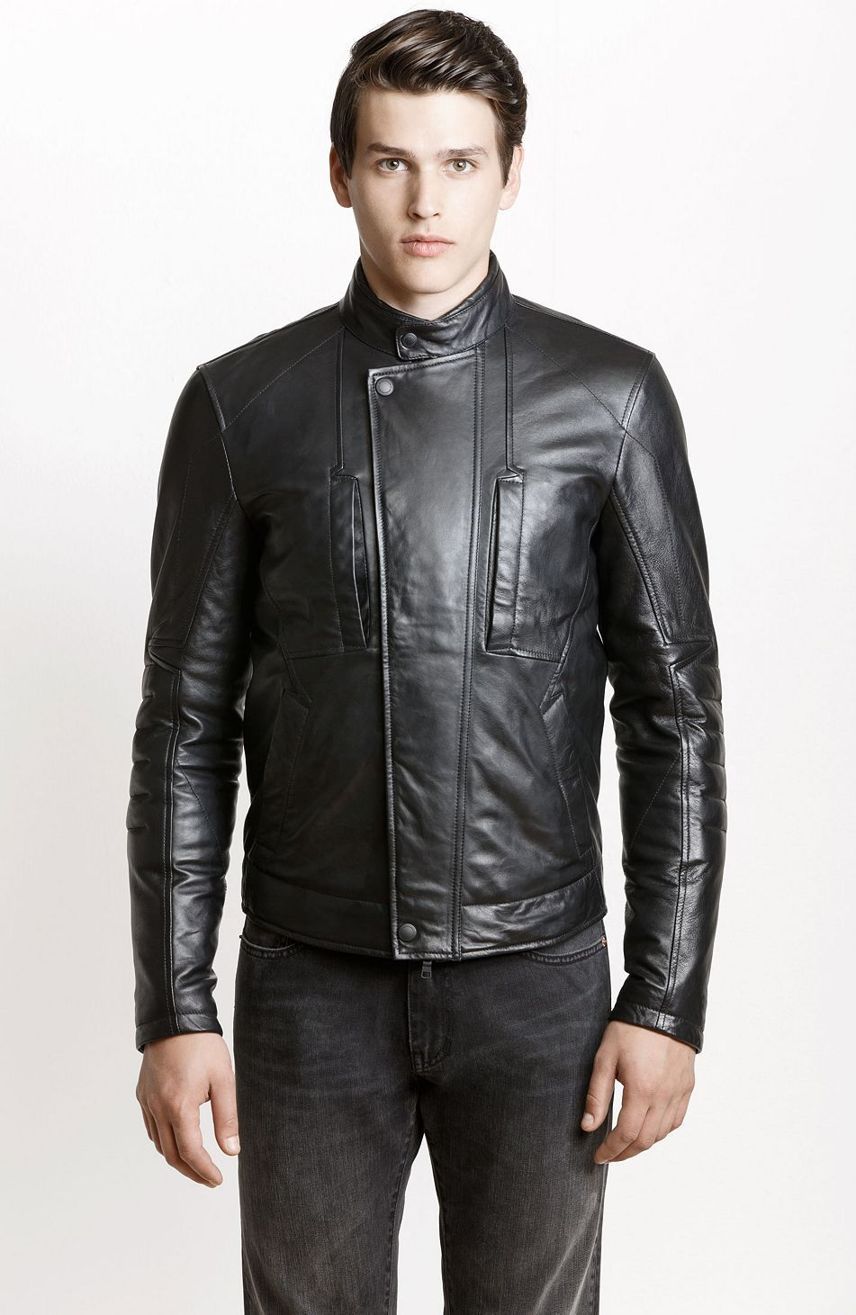 Quilted Sleeve Leather Jacket Jackets Blazers Mens Armani