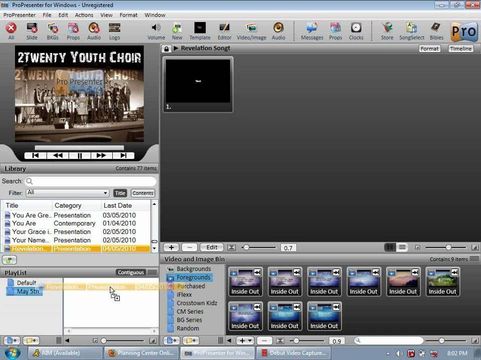 Creating Playlist (ProPresenter 4 for Windows)   Propresenter