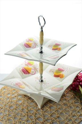 Neşeli Mutfaklar - Macaron Serisi Ayaklı 2 Katlı İkramlık M29-HCYKK01 %50 indirimle 39,99TL ile Trendyol da