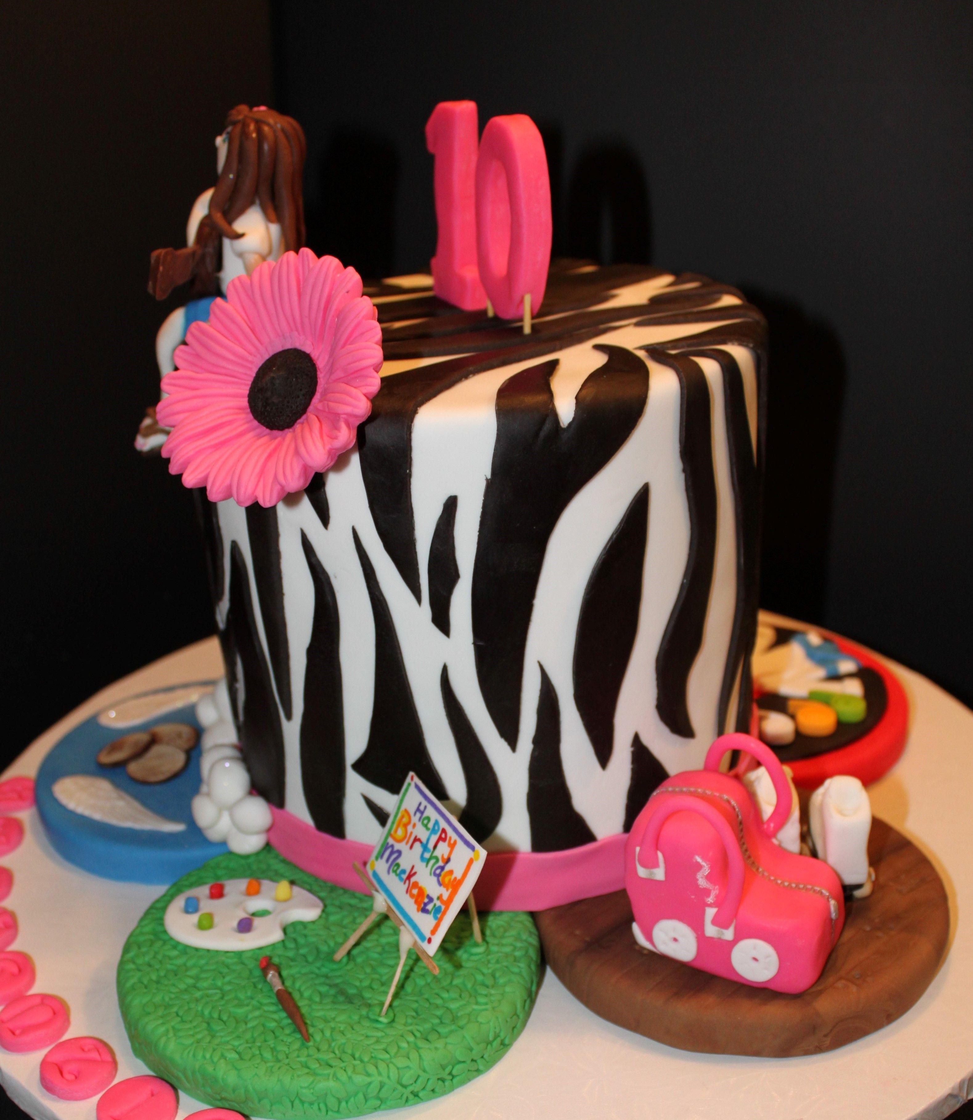 Fondant Zebra Cake Birthday girls favorite things are displayed on